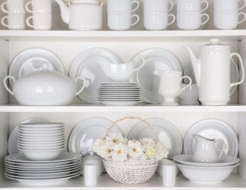 white tableware on shelves