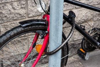 bicycle secured on street