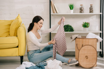 housewife organising clothes