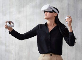 woman doing virtual reality activities