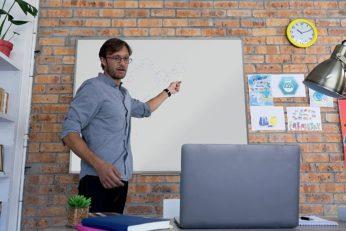 professor doing online lecture