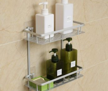 shampoo bottles on bathroom organiser